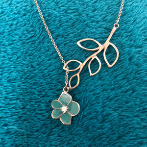 Jewelry - Delicate Silver Leaf & Teal Flower Necklace